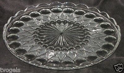 Vintage Crystal Footed Cake Plate Platter Bubble Diamond Pattern Scallop Rim