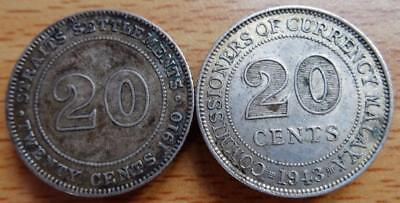 Straits Settlements Edward V11 20 cents and 1943 20 cents