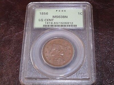 1856 U.S Large Cent PCGS MS63 BN Braided Hair Cent Brown No Reserve