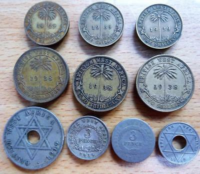 British West Africa 1919 – 1942  10 coins including shillings & two shillings