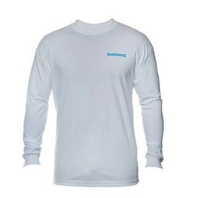 Shimano ATEELSXXLWT Men's White Shimana Logo Long Sleeve T-Shirt - Size 2X-Large