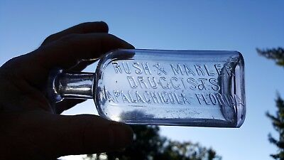 Rare Antique Apalachicola Fla Florida Fl Drugstore Medicine Bottle Rush & Marler