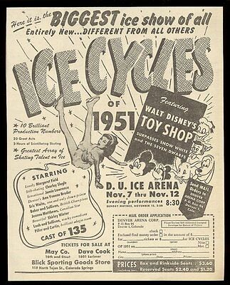 1951 Walt Disney Mickey Mouse & other character art Ice Cycles vintage print ad
