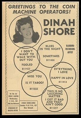 1942 Dinah Shore photo Bluebird Records vintage print ad