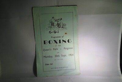 RARE BOXING PROGRAM QUEENS PARK PAIGNTON DEVON 20TH SEPT 1954 PRICE 6d