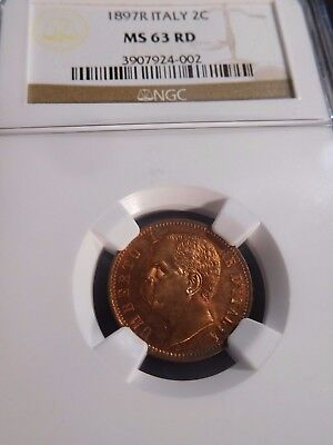 INV #W15 Italy 1897-R 2 Centesimi NGC MS-63 Red
