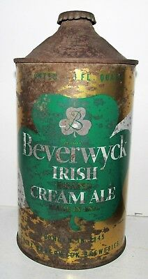 Berverwyck Irish Brand Cream Ale Albany NY IRTP 32 oz QUART CONE TOP BEER CAN