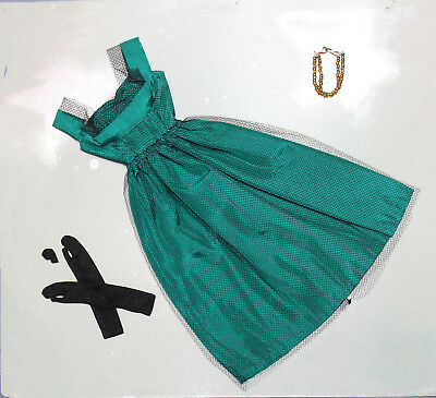 Pretty Green Dress, Gloves, Necklace,  Made for Barbie Other Like Size Dolls