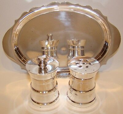 Vintage Tiffany & Co. Sterling Silver Salt & Pepper Made in Italy + Sterling Tra