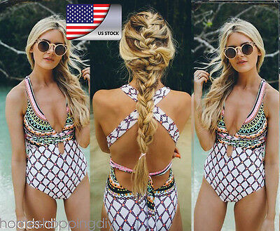 Women's Bohemia Beach Swimsuit Bath Push Up Padded Bikini Swimwear Monokini