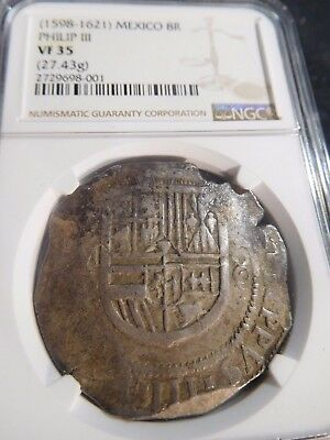 INV #W59 Mexico Philip III 1598-1621 8 Reales 27.43g NGC VF-35