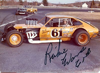 Richie Evans Autograph Orig 1970s 5x3.5 Photo NASCAR Modified 4564