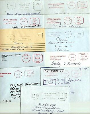 Estonia:prison, Court, Police:11 Different Black And Red Meter Letters 1993-2002
