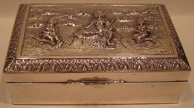 Vintage Sterling Silver Box Siam / Burma Repousse Asian Hall Marks <--@--<<16 oz