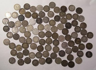 1911 to 1920 Canada KING GEORGE V Silver FIVE CENT lot of 100 coins