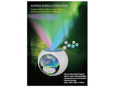 NEW Aurora Borealis Projector Alarm Clock with Soothing Sound & Calendar $49.99