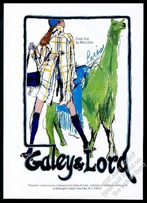 1969 green llama art Christian Dior mod dress Galey & Lord vintage print ad