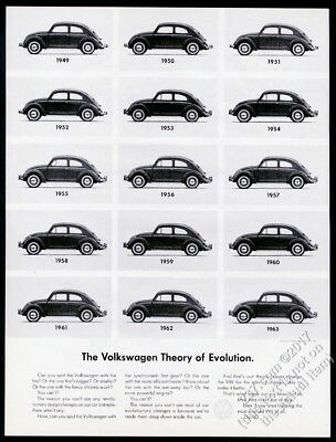 1963 VW Beetle 15 cars 1949-63 photo Theory of Evolution 13x10 vintage print ad