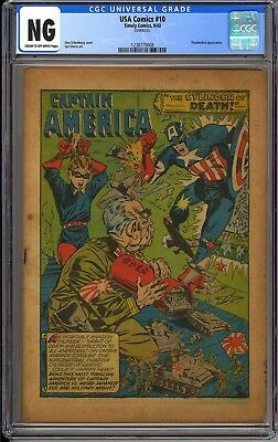 USA Comics #10 Coverless WWII Captain America Golden Age Timely 1943 CGC NG