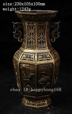Marked antique china Brass Crane Eagle Fish Rooster Cock Flower Bottle Vase
