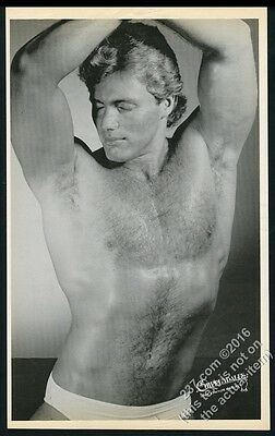 1984 Chippendales male stripper shirtless man photo BIG vintage print ad