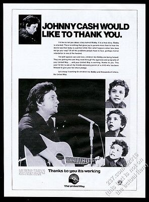 1972 Johnny Cash photo The United Way vintage print ad