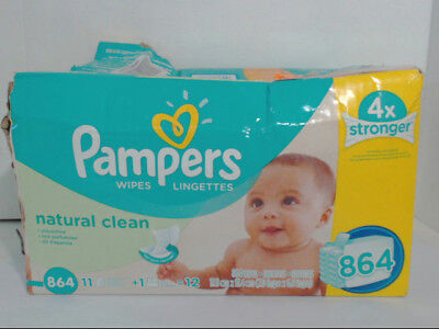 NEW Pampers Natural Clean Baby Wipes 12x Box with Tub 864 Count