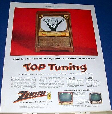 1954 Zenith Top Tuning Television console Ad