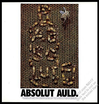 1993 Absolut Auld Doug Auld bees as vodka bottle art vintage print ad