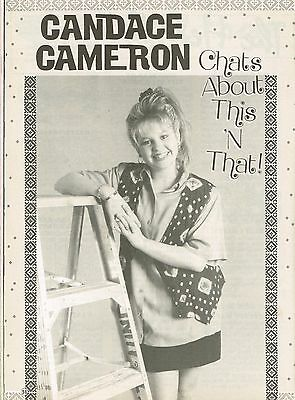 """CANDACE CAMERON BURE - 11"""" x 8"""" MAGAZINE CLIPPING & ARTICLE - year 1991"""