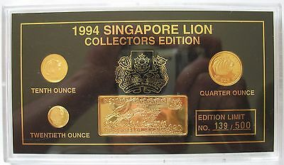 1994 Singapore Set of 4 Coins Gold $25,$10,$5  & Silver Gold Plated $20