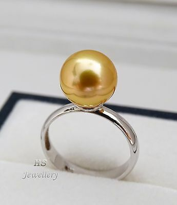 HS Golden South Sea Cultured Pearl 10.5mm 925 Sterling Silver Ring Top Grading
