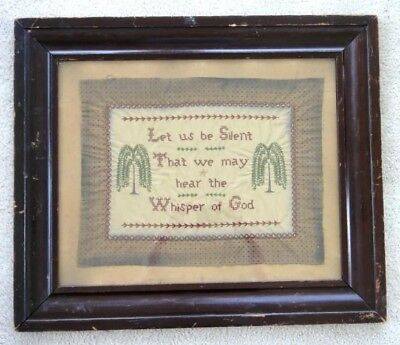 antique EARLY 1900s CROSS STITCH SAMPLER prim WEEPING TREES,WHISPER OF GOD folky