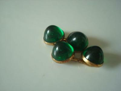 Vintag Gold Tone Art Deco Double Sided Cuff Links With Domed Green Cabochons