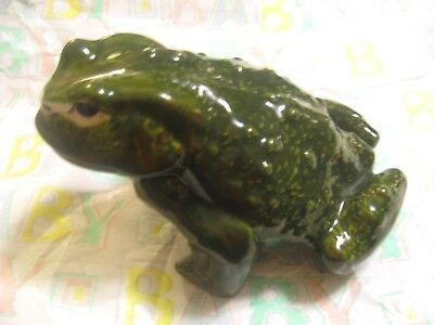 Life Sized Ceramic Bullfrog Hand Painted Glazed 30 Yrs Old