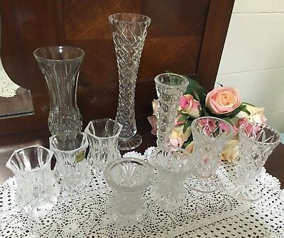 BUD VASES CRYSTAL 10 Vases -  (Various Sizes) - Lovely Cond