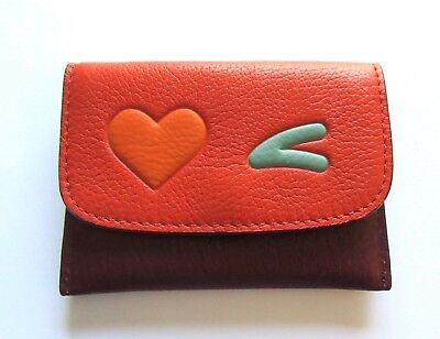 Coach Heart Card Pouch Case- brown/orange -orange heart green eyebrow F11720