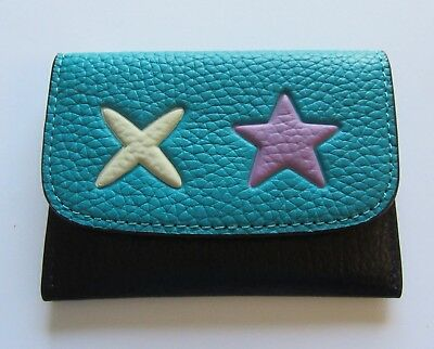 Coach Heart Card Pouch Case- black turquoise - white X - purple star  F11721