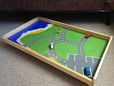 Children's Under Bed Pull Out Play Trundle Drawer Tray Cars Beach Hand Painted