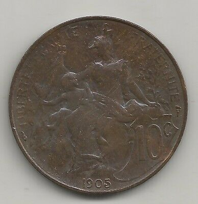 10 centimes dupuis 1905  rare bronze french coin