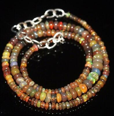 41 Ctw 2-5.5 Mm 16 Natural Genuine Ethiopian Welo Fire Opal Beads Necklace-R6592