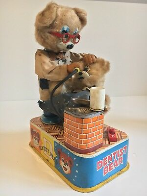 Vintage Pre-Owned 1950's Mechanical Battery Operated Dentist Bear Toy (Japan)