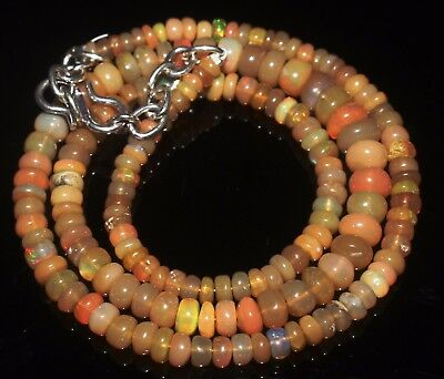 51 Ctw 3-6 Mm 16 Natural Genuine Ethiopian Welo Fire Opal Beads Necklace-R6529