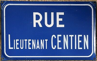 French enamel street sign plate road name plaque Lieutenant Gentien Burgundy