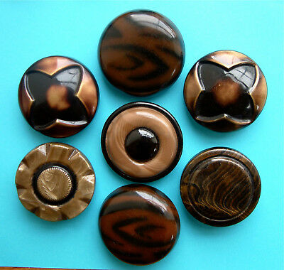 7 Vintage HUGE (43mm) Art Deco Tight Top Celluloid Buttons, Brown & Taupe