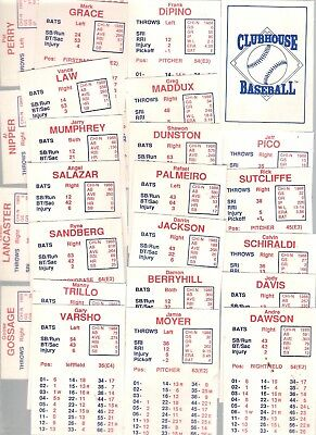 Original 1988 CLUBHOUSE BASEBALL Chicago Cubs (24) baseball cards game RARE