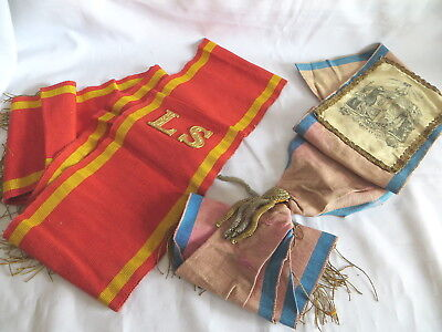 2 Old Oddfellows Sashes - One With Silk Panel - One Left Supporter (41)
