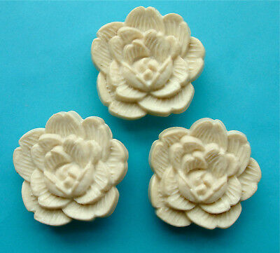 3 Vintage LARGE (40mm) Shabby Chic Cream Plastic Rose Buttons