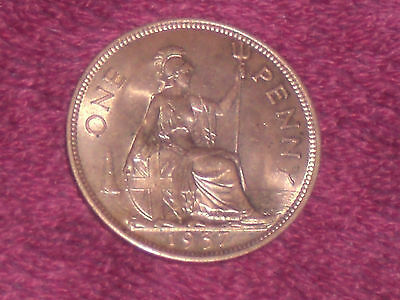 1937 penny, George VI,  top collectable grade, BU with full mint lustre.