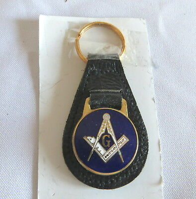 Masonic Top Grain Leather Car Keyring Fob (24C)